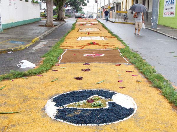 Tapetes confeccionados para a procissão na rua Dr. Campos Sales