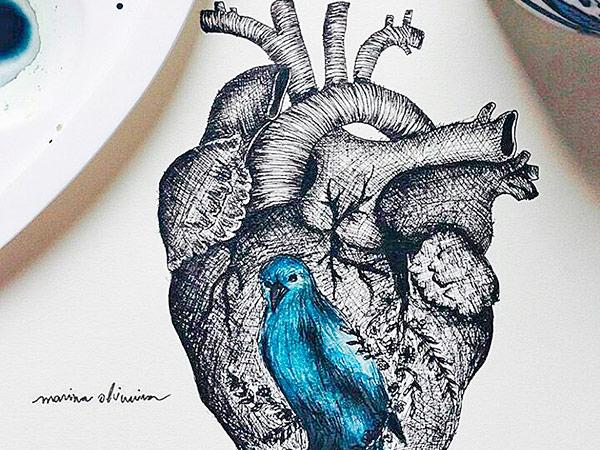 """""""Bluebird"""", premiado bico de pena e aquarela que se transformará num grande painel"""