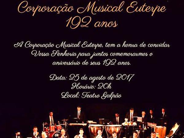 Nesta sexta-feira (25), a noite no Teatro Galpão será de parabéns à Euterpe