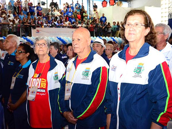 Parte da equipe de Pinda durante os Jogos Regionais do Idoso, outra competição voltada para os atletas da melhor idade