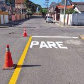 Trânsito realiza pintura de sinalização no Cidade Jardim,  Ouro Verde e Distrito Industrial