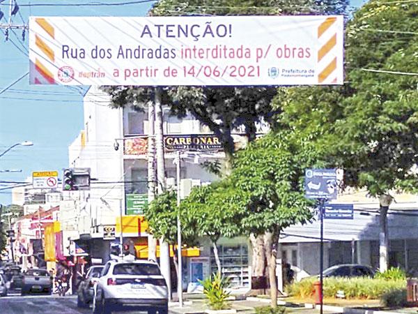 Obras na Rua dos Andradas começam dia 14 de junho