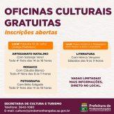 Secretaria de Cultura e Turismo apresenta quatro oficinas presenciais gratuitas